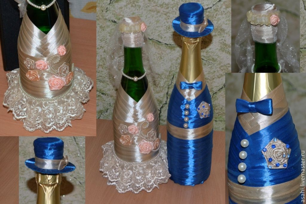 Как украсить бутылки лентами на свадьбу своими руками