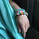 Браслеты ручной работы. Ярмарка Мастеров - ручная работа. Купить Летний бирюзово-оранжевый браслет из цветов. Серьги.. Handmade.
