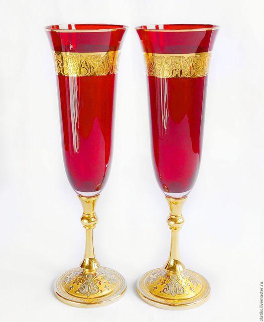 """Бокалы, стаканы ручной работы. Ярмарка Мастеров - ручная работа. Купить Фужеры """"Богемское стекло"""". Handmade. Золотой, златоуст"""