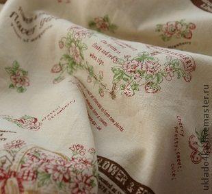 """Шитье ручной работы. Ярмарка Мастеров - ручная работа. Купить Ткань - лен """"Корзины"""". Handmade. Бежевый, ткань, ткань для рукоделия"""