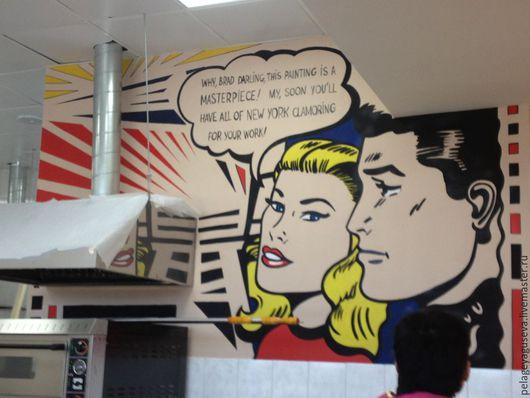 Декор поверхностей ручной работы. Ярмарка Мастеров - ручная работа. Купить Роспись в ресторане в стиле поп-арт. Handmade. Роспись