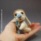 Куклы и игрушки ручной работы. Ярмарка Мастеров - ручная работа Авторская игрушка из шерсти - (миник) - зайчонок. Handmade.