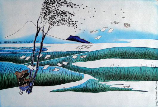 Пейзаж ручной работы. Ярмарка Мастеров - ручная работа. Купить Япония. Ветер.. Handmade. Тёмно-зелёный, изумрудный, синий, голубой
