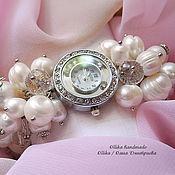 Украшения ручной работы. Ярмарка Мастеров - ручная работа Часы женские на руку Жемчуг и Хрусталь, наручные часы, часы-браслет. Handmade.