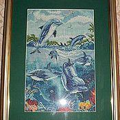 """Картины и панно ручной работы. Ярмарка Мастеров - ручная работа Картина """"Весёлые дельфины"""". Handmade."""