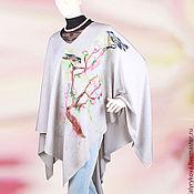 Одежда ручной работы. Ярмарка Мастеров - ручная работа Пончо Птички на ветке сакуры. Handmade.