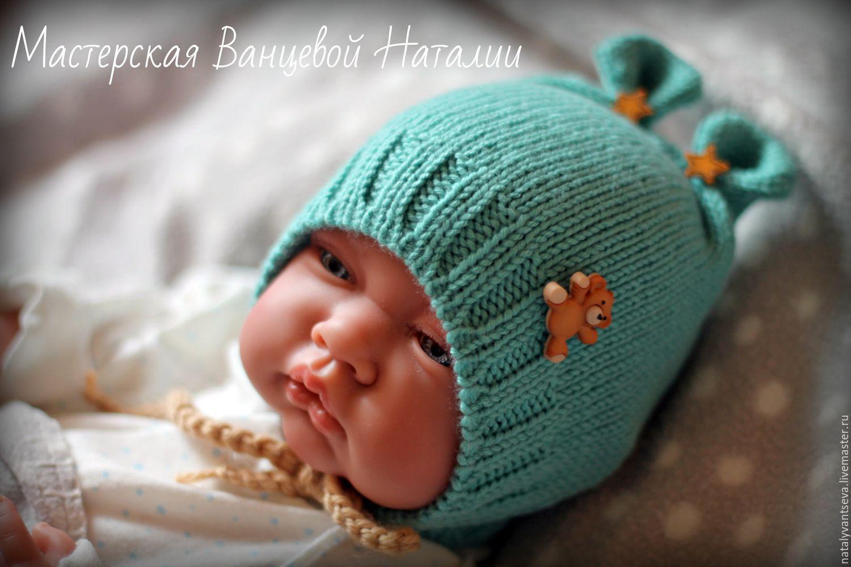 Вязание шапочки с ушками для новорожденного мальчика 31