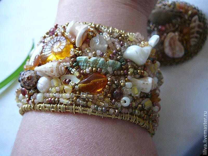 Bracelet brass 'Sea. The surf', Bead bracelet, St. Petersburg,  Фото №1