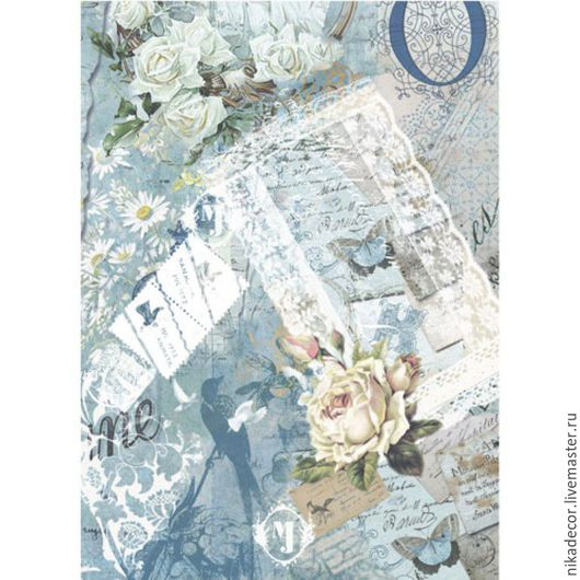 Декупаж и роспись ручной работы. Ярмарка Мастеров - ручная работа. Купить Голубая бабочка(CD01839) - рисовая бумага, А3. Handmade. Декупаж