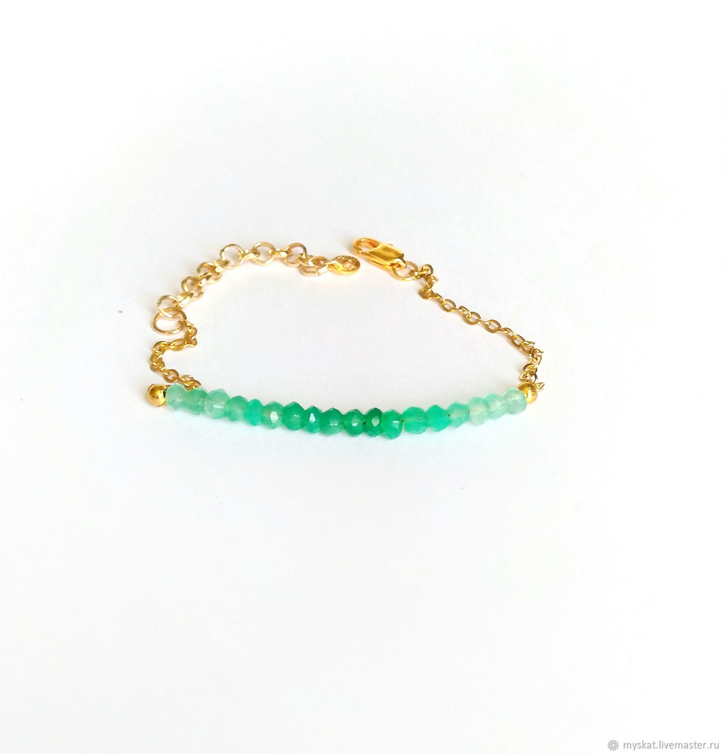 Bracelet made of natural chrysoprase, gold-plated 16K, Bead bracelet, Moscow,  Фото №1