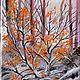 """Пейзаж ручной работы. Ярмарка Мастеров - ручная работа. Купить картина маслом """"осенняя"""". Handmade. Осень, лес, первый снег"""