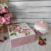 """Для дома и интерьера ручной работы. Ярмарка Мастеров - ручная работа """"Post card"""" - чайный набор декупаж шебби-шик. Handmade."""