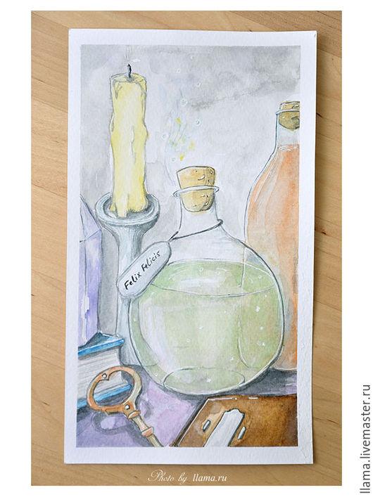 """Фэнтези ручной работы. Ярмарка Мастеров - ручная работа. Купить Акварель """"Алхимия"""". Handmade. Разноцветный, рисунок, акварель, акварельный рисунок"""