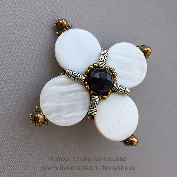 Brooch - flower with mother of pearl, Brooches, Moscow, Фото №1