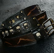 Аксессуары handmade. Livemaster - original item Belt men`s leather Belt with skulls Gothic Rock. Handmade.