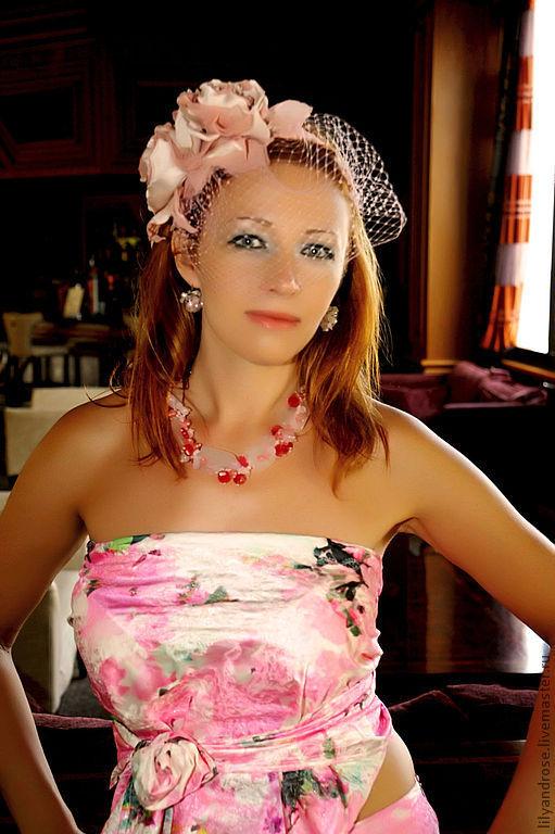 Свадебные украшения ручной работы. Ярмарка Мастеров - ручная работа. Купить Ободок с вуалью. Handmade. Бледно-розовый, ярмарка мастеров