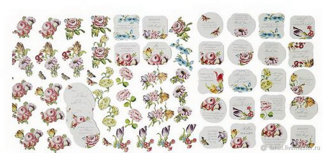 A set of 3D stickers Anna Griffin Quotes & Flower Embellishments, Sticker, Moscow,  Фото №1
