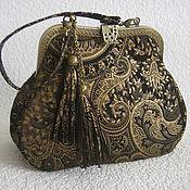 Сумки и аксессуары handmade. Livemaster - original item Bag with a clasp.Women`s leather bag BLACK AND GOLD PAISLEY. Handmade.
