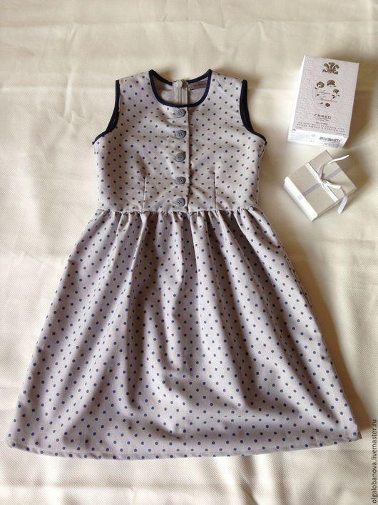Одежда для девочек, ручной работы. Ярмарка Мастеров - ручная работа. Купить Платье в горошек. Handmade. Серый, в горошек