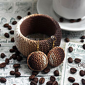 Украшения handmade. Livemaster - original item Knitted bracelet, earrings, set of Coffee with milk. Handmade.