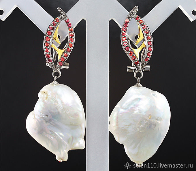 Earrings NAYADA with a Baroque pearl, Earrings, Voronezh,  Фото №1
