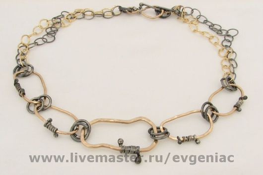 Колье, бусы ручной работы. Ярмарка Мастеров - ручная работа. Купить ожерелье Кольца (голд филл, серебро). Handmade. на шею