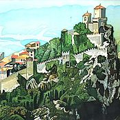 Картины ручной работы. Ярмарка Мастеров - ручная работа Картина батик Сан- Марино. Handmade.
