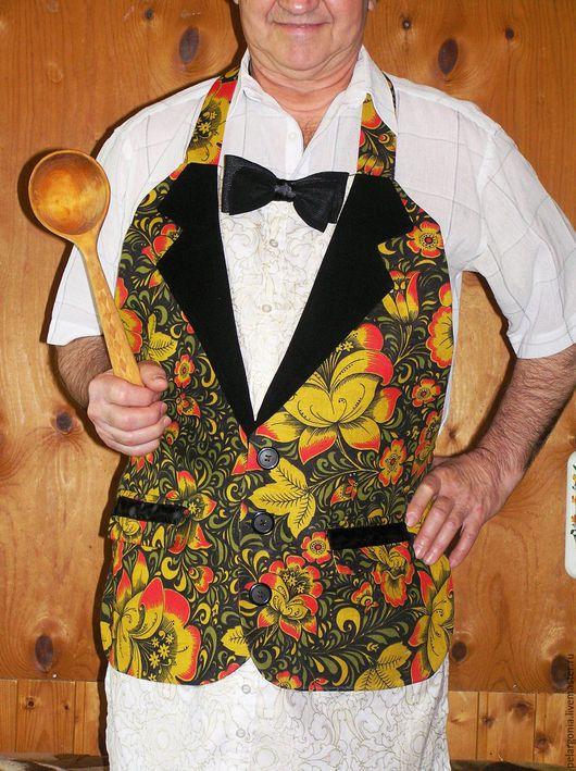Мужской фартук сшит в народном стиле, оформлен в виде пиджака, белой рубашки на выпкуск, черный галстук-бабочка. Авторская работа.