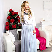 Одежда ручной работы. Ярмарка Мастеров - ручная работа Длинная юбка-пачка из оригинального еврофатина светло-серая. Handmade.