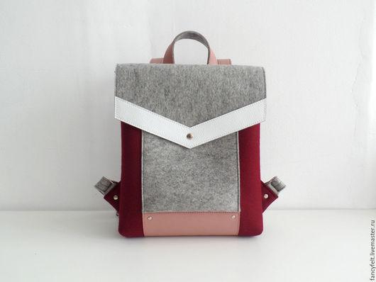 Рюкзаки ручной работы. Ярмарка Мастеров - ручная работа. Купить Бордовый рюкзак из фетра и натуральной кожи. Handmade. Сумка из фетра