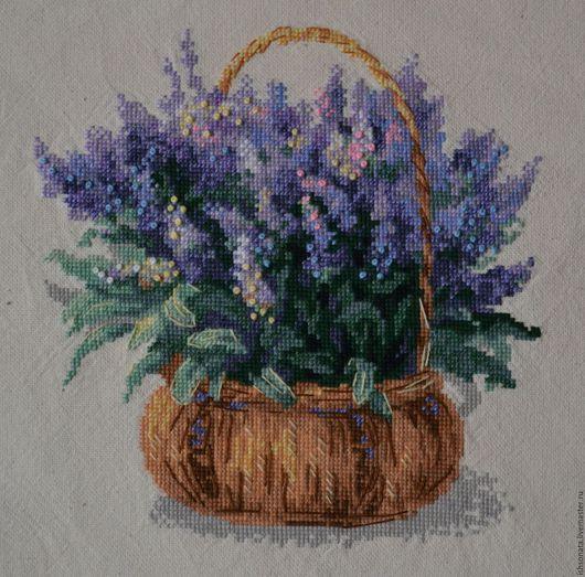 Картины цветов ручной работы. Ярмарка Мастеров - ручная работа. Купить Французская лаванда. Handmade. Сиреневый, Вышивка крестом