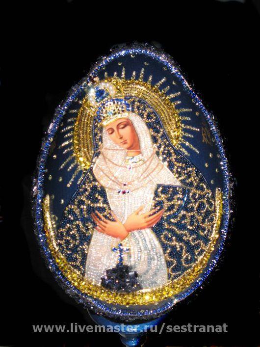 Иконы ручной работы. Ярмарка Мастеров - ручная работа. Купить яйцо с иконой Божией Матери Остробрамская. Handmade. Тёмно-синий