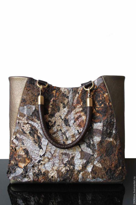Женские сумки ручной работы. Ярмарка Мастеров - ручная работа. Купить Валяная сумка, кожаная сумка, коричневая сумка, бронза, сумка на осень. Handmade.