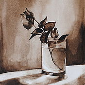 Картины и панно handmade. Livemaster - original item Picture. Watercolor rose in a glass. Handmade.