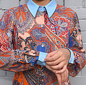 Одежда ручной работы. Ярмарка Мастеров - ручная работа SALE! -50% Рубашка с восточным орнаментом вискоза. Handmade.