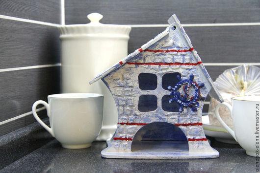 """Кухня ручной работы. Ярмарка Мастеров - ручная работа. Купить Чайный домик """"Маяк надежды"""" декупаж. Handmade. Синий"""