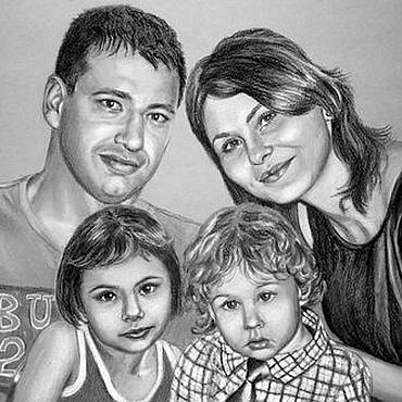Подарки к праздникам ручной работы. Ярмарка Мастеров - ручная работа Портрет семейный углем. Handmade.
