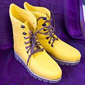 """Обувь ручной работы handmade. Livemaster - original item Валяные ботинки """"Горчица"""". Handmade."""
