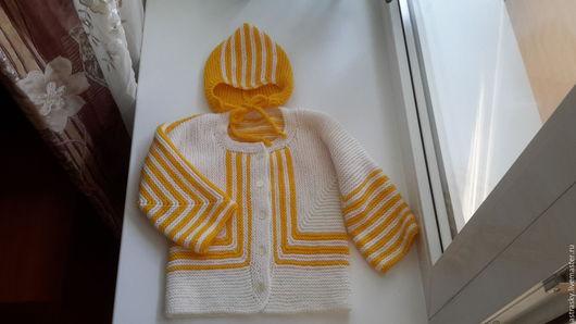 Одежда унисекс ручной работы. Ярмарка Мастеров - ручная работа. Купить Комплект Солнечный Сюрприз. Handmade. Желтый, платочная вязка