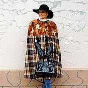 Одежда ручной работы. Ярмарка Мастеров - ручная работа Кейп в клетку с натуральной кожей(№81). Handmade.