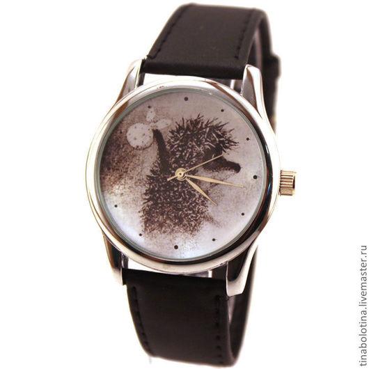 Часы ручной работы. Ярмарка Мастеров - ручная работа. Купить Дизайнерские наручные часы Ежик в тумане (Сепия). Handmade.
