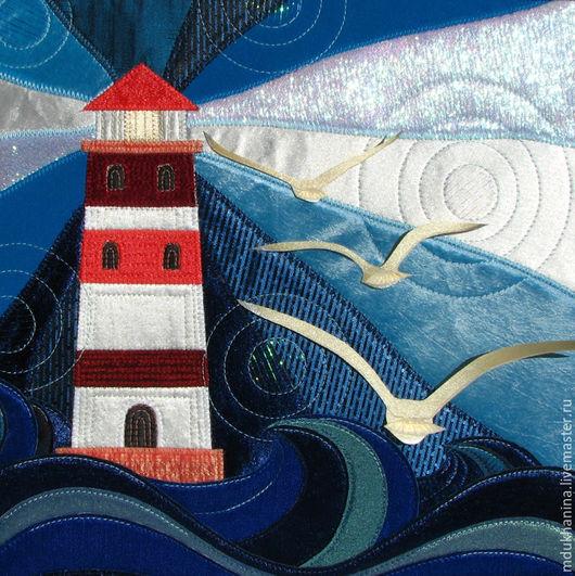 """Пейзаж ручной работы. Ярмарка Мастеров - ручная работа. Купить Картина из ткани """"Маяк"""". Handmade. Тёмно-синий, свет, нитки"""