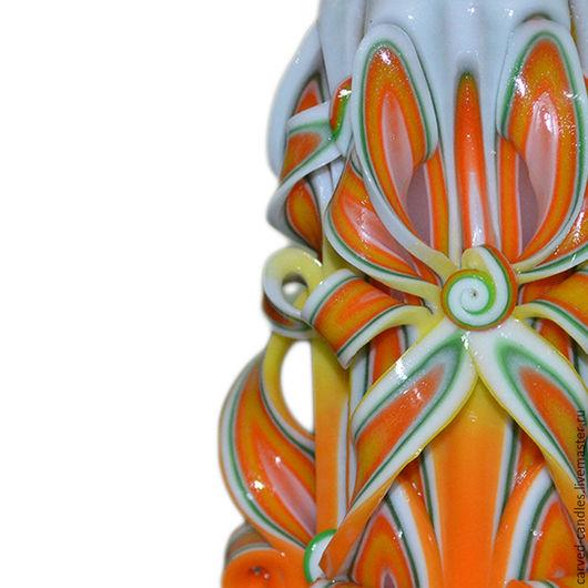 """Свечи ручной работы. Ярмарка Мастеров - ручная работа. Купить Резная свеча ручной работы  """"Апельсиновое настроение"""". Handmade."""