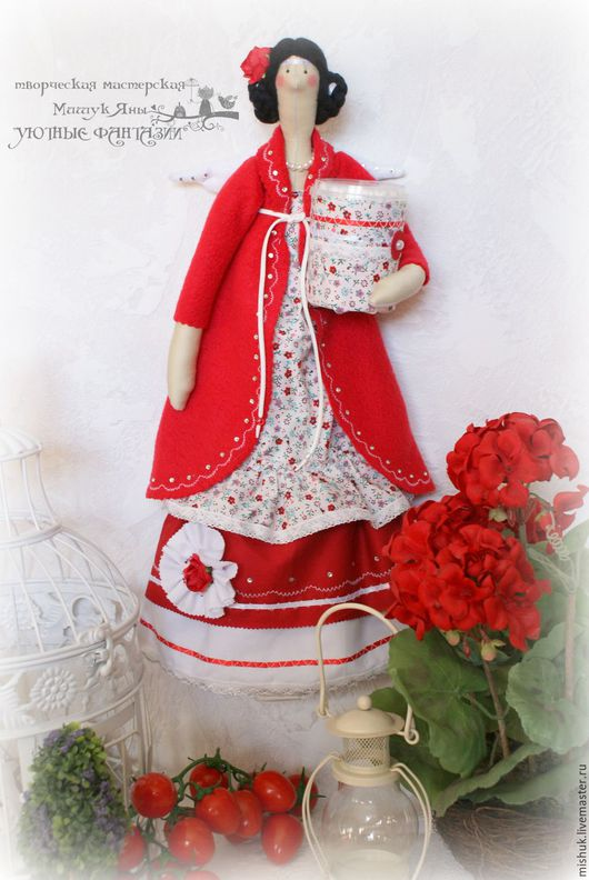 Куклы Тильды ручной работы. Ярмарка Мастеров - ручная работа. Купить Тильда Хранительница ватных дисков ГЕРАНЬ. Handmade. Разноцветный