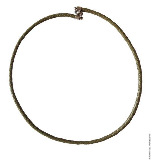 Колье, бусы ручной работы. Ярмарка Мастеров - ручная работа. Купить Шнурок зелёный из плетёной натуральной кожи 4,0мм. Handmade.