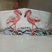 Аксессуары ручной работы. Ярмарка Мастеров - ручная работа Свадебный пояс с фламинго. Handmade.