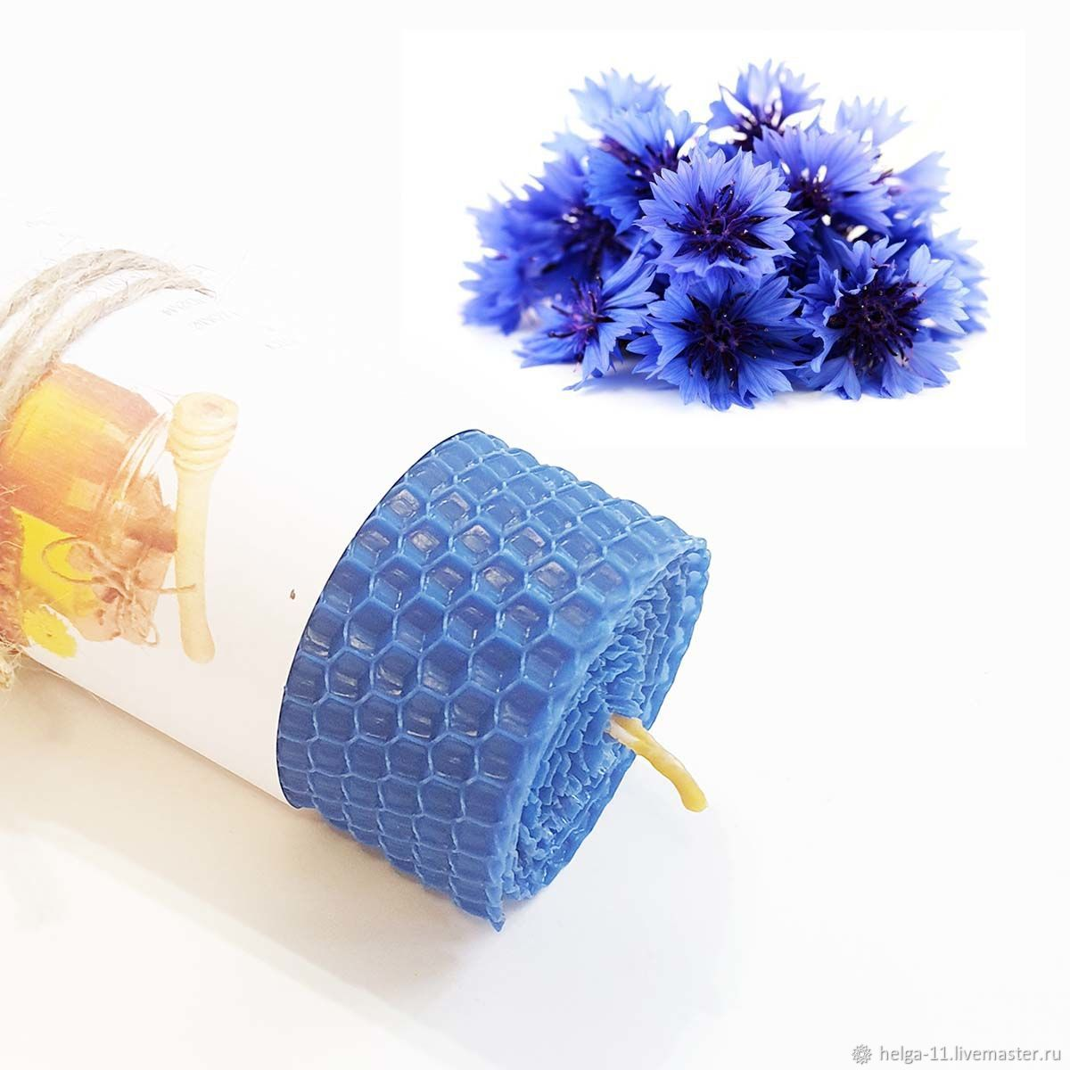 Honey candle-Blue with cornflower 13h4,7,  cm, Candles, St. Petersburg,  Фото №1