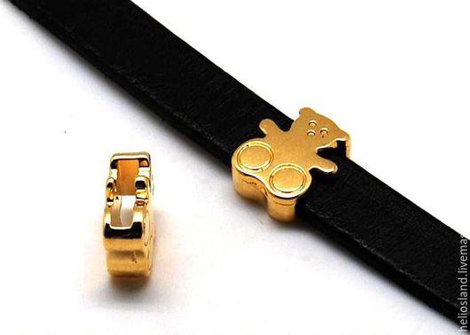 Для украшений ручной работы. Ярмарка Мастеров - ручная работа. Купить Бусины для плоских  шнуров 10 мм Мишка. Handmade.