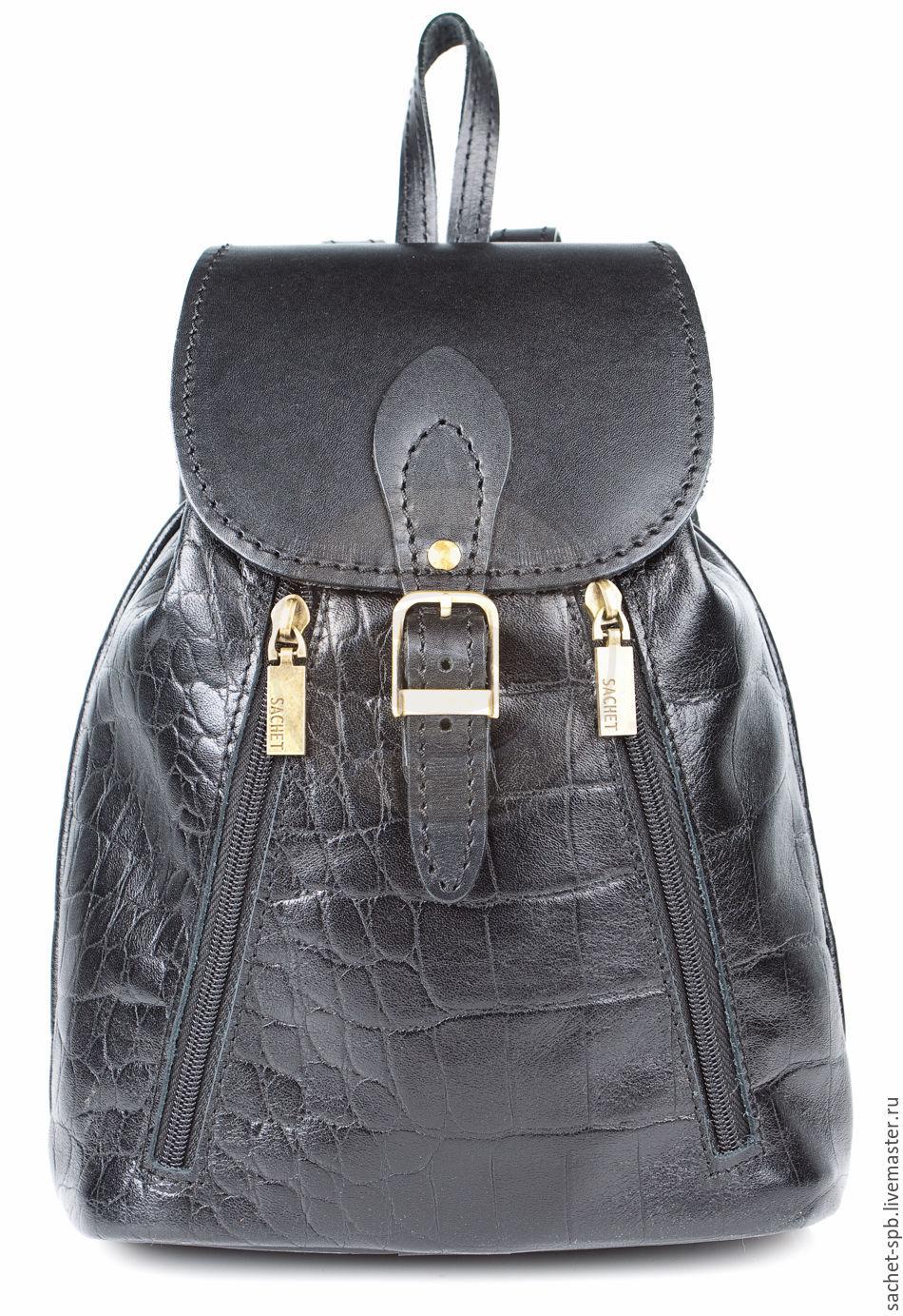 """Рюкзаки ручной работы. Ярмарка Мастеров - ручная работа. Купить Женский кожаный рюкзак """"Жоли"""" черный тисненый. Handmade. Рюкзак"""