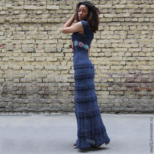 Платья ручной работы. Ярмарка Мастеров - ручная работа. Купить Платье вязаное макси. Handmade. Синий, макси платье